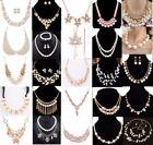 Women Bib Collar Choker Chunky Crystal Chain Pendant Statement Pearl Necklace