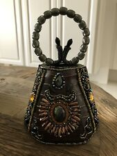 Leather Beaded Handle Evening Bag Retail Brand New Stunning!