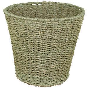 JVL Natural Round Seagrass Waste Paper Basket Bin, 28 x 25 cm