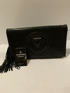Authentic Valentino Crossbody Bag leather clutch with tassel MSRP $795