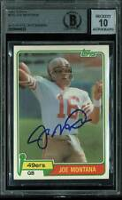 49ers Joe Montana Signed Card 1981 Topps RC #216 Auto Graded Gem 10! BAS Slabbed