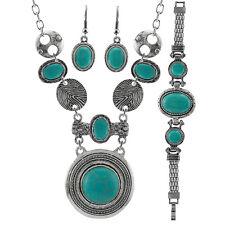 Fashion Turquoise Jewelry Sets Women Luxury Turquoise Necklace+Bracelet+Earring