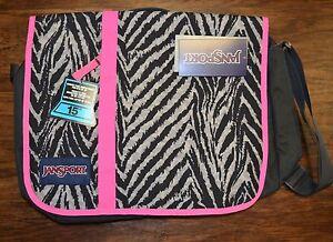 JanSport Market Street Laptop Messenger Bag - Grey Tar Wild At Heart Pink Black
