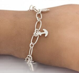 925 Sterling Silver Multi Anchor Charm Necklace
