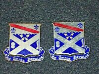 WWII US Army 18th Infantry Regiment DI DUI Crest PAIR Original Set Missing Clutc