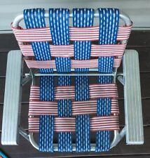 Vtg Child's Aluminum Webbed Lawn Chair Retro Red White Blue