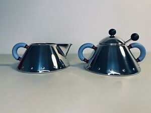 Alessi New Graves Creamer & Sugar Bowl Set with Blue Handles