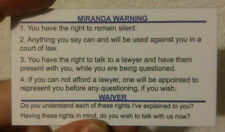 New listing Miranda Warning/Rights Card for Law Enforcement (Police/Sheriff/Trooper)
