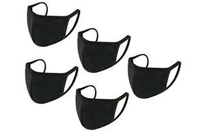 Cotton Face Mask Black Protective  Reusable Washable Breathable 5xmasks( Adult)