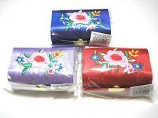 3 pc Blue Purple Red Silk Cosmetic Box Double Lipstick Case