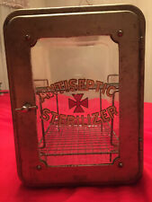 Vintage Industrial Glass Antiseptic Sterilizer Cabinet