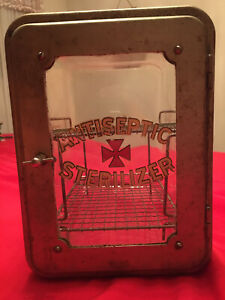 Vintage Industrial Glass Antiseptic Sterilizer Cabinet
