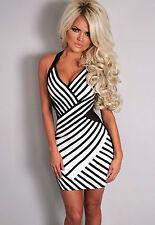 Abito aperto stampato aderente scollo Print Mesh Halterneck Bodycon Dress XL