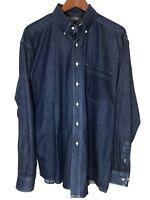 Baxter Castlepoint Mens Large L Button Down Long Sleeve Blue Jean Denim Shirt