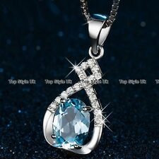 I Love You Silver Blue Crystal Necklace Jewellery XMAS GIFTS FOR HER Women B6