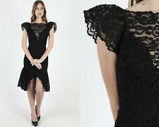 Vtg 80s Black Lace Dress Sheer Floral Medieval Gothic Corset Sexy Wiggle Mini