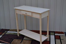 Unfinished Pine Tall Table Foyer Entry Table TV Stand Shaker Square Edge w/Shelf