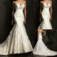New white ivory Mermaid lace Wedding Dress Bridal Gown stock 6 8 10 12 14 16 18