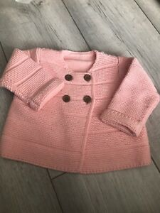 Baby Girl Buttoned Cardigan Wool Pastel Pink 6-9 Months Crotchet Effect