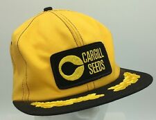 Vtg Cargill Seeds K Brand Made In USA Yellow Black Patch Front Snapback Hat