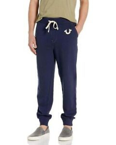 New Mens True Religion Slim Fit Cuffed Joggers Blue MAOH023MF4 Sale Sale!!!!!
