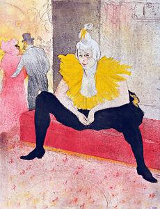 The Seated Clowness by Henri de Toulouse Lautrec Quality Canvas Print