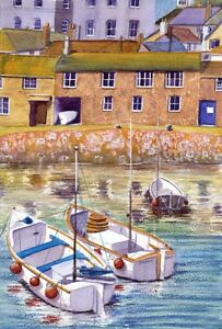 Mousehole Boats  Cornwall art print from Watercolour painting by Alex Pointer