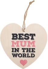 Hanging Heart Sign Best Mum Cream Message Lightweight Mother Gift 12cm