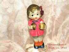 ANTIQUE JAPAN 1930's BISQUE FROZEN CHARLOTTE HOLDING BELLS CYMBAL MINIATURE DOLL