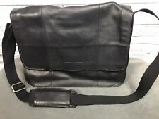 James Campbell Black Leather Messenger Laptop Briefcase Bag See Description