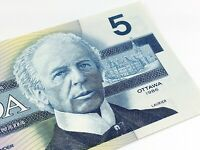 1986 Canada Five 5 Dollars GNM Prefix Canadian Uncirculated Banknote I745