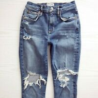 AGOLDE Sophie High Rise Skinny Cropped Denim Blue Jeans In Spite Women's Size 25