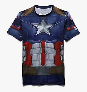 Under Armour Alter Ego Captain America Compression Shirt Men's Blue Red Tee Top