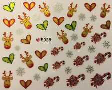 Christmas Nail Art Stickers Decals Snowflakes Rudolph Candy Cane Hearts E29