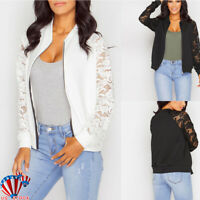 Women Biker Celeb Lady Lace Crochet Long Sleeve Bomber Zip Coat Jackets Outwear