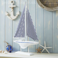 Large Wooden Decorative Boat with Stripe Sail