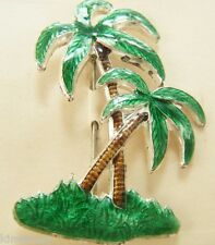 1940's ENAMELED PALM TREE PIN OLD STORE STOCK ON CARD