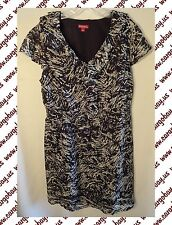 Black & Gray Print Plus Size 1x Ruffle Front Dress Elastic Waist Fully Lined New