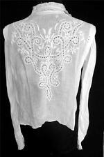 Excepcional Raro Francés Victoriano Algodón Blanco Bordado a mano Blusa Size 6
