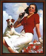 Coca-Cola: Lady and her Dog. Framed Vintage 50s Pin-Up Style AD Poster. Walnut