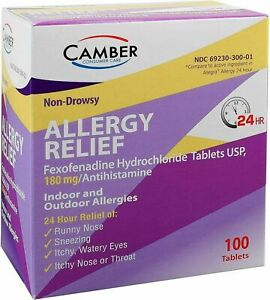 Fexofenadine (Allegra) 180mg Allergy Relief 100ct Tab BEST PRICE! Exp 05/2022