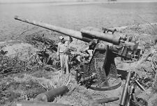 WWII photo Japanese 120mm Type 10 gun captured by the Americans in the Phili/60k
