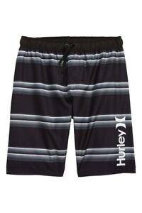 Hurley Surf Big Boy's Serape Stripe Black Gray Swim Shorts Trunks Board S/M/L/XL