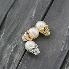 New 18K Rose Gold / Gold GP 3D Stud Earrings Gothic Punk Skull Pearl Head Face