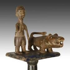 VINTAGE WOODEN LINGUIST'S ORATOR'S STAFF HUNTER LION ASHANTI GHANA WEST AFRICA