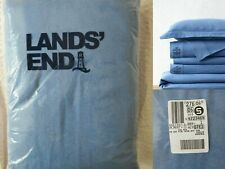 $239 NWT Lands End 100% Cotton 6oz Flannel Duvet Cover King Size Oeko-Tex Blue