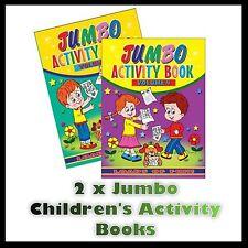 2 x JUMBO CHILDRENS KIDS PUZZLE COLOURING ACTIVITY FUN BOOKS DOT TO DOT UK 3&4