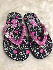 Sanrio Hello Kitty Girls Sandals Flip Flops Black Pink White 11 / 12
