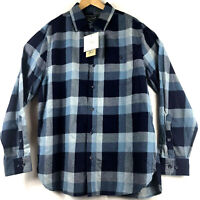 Woolrich Mens Eco Rich Indigo Check Plaid Twill Shirt Blue Size Large NWT