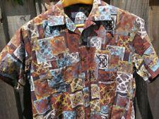 Mens DUKE Of HOLLYWOOD Hawaiian Loop Collar Cotton Aloha Camp Shirt  L